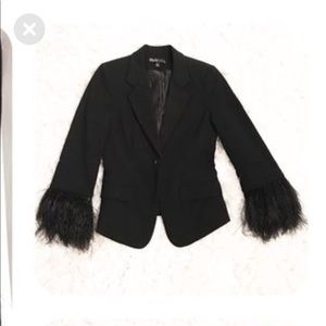 Elizabeth and James feathered sleeve blazer